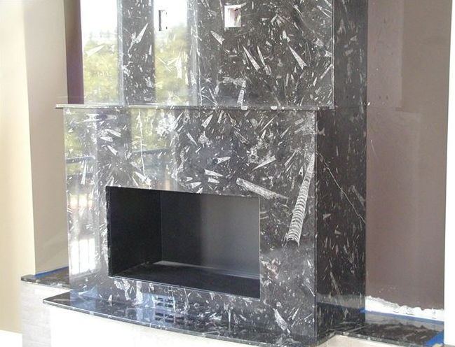 Exceptionnel Fossil Black Limestone Fireplace