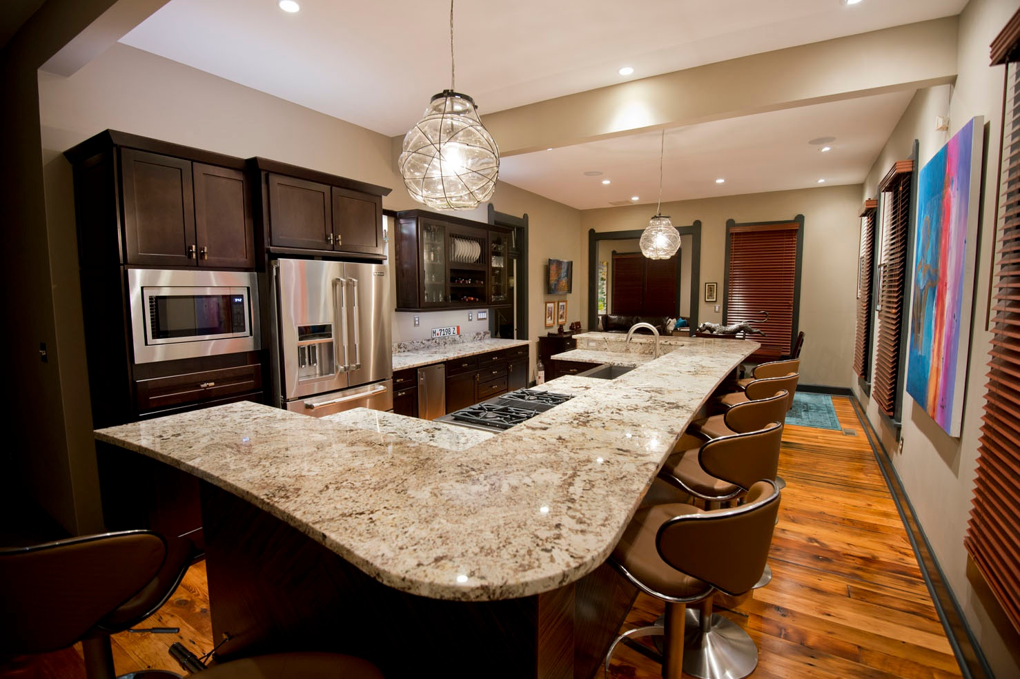 Ice brown granite kitchen countertops indianapolis for Small kitchen granite countertops